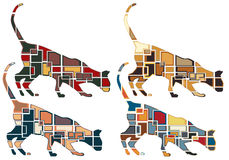 Sniffing cat mosaics Royalty Free Stock Image