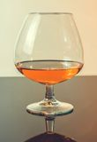 Snifter of brandy in elegant typical cognac glass on light background Stock Image