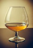 Snifter of brandy in elegant typical cognac glass on old fashion style background Royalty Free Stock Photo