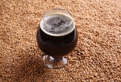 Snifter with stout over malt Stock Photo