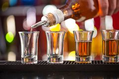 Snifters on bar desk Stock Photo