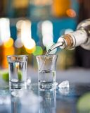 Snifters on bar desk Royalty Free Stock Photo