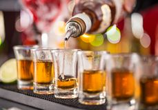 Snifters on bar desk Stock Image