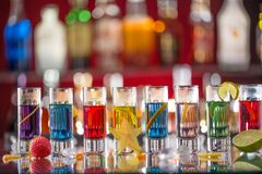 Snifters on bar desk Stock Images