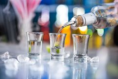 Snifters on bar desk Royalty Free Stock Photography