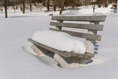 Snöig parkera bänken Royaltyfri Bild