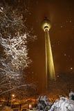 Snöig vinter i Berlin, Tyskland Royaltyfri Bild