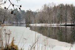 Snöig vinterlandskap - fryst flod Polen Royaltyfria Bilder