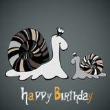 Snigel för lycklig födelsedag stock illustrationer
