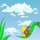Snigel för tecknad filmtecken på gräset Royaltyfri Bild