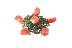 Snijboon en tomaat Stock Fotografie