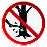 Snijd boom geen teken Stock Afbeelding