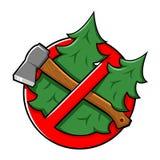 Snijd boom geen teken Royalty-vrije Stock Afbeeldingen
