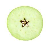 Snijd de appel met het knippen van weg wordt geïsoleerd die royalty-vrije stock foto's