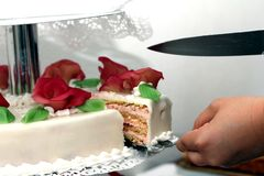 Snijd de cake Royalty-vrije Stock Afbeelding