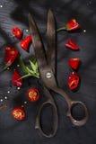 Snijd de Spaanse peper stock afbeelding