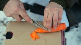 Snijd de wortel die in een stijging, in een stijging koken stock videobeelden