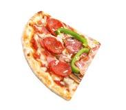 Snijd geïsoleerde plakpizza af stock afbeelding