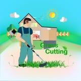 snijd het gras stock illustratie