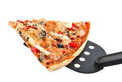 Snijd plakpizza af Stock Afbeelding
