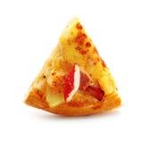 Snijd plakpizza af op witte achtergrond wordt geïsoleerd die stock foto
