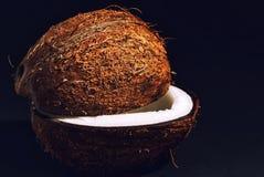 Snijd regelmatig de helften van kokosnoot stock foto