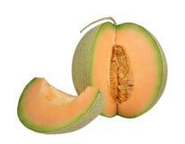 Snijd rijpe oranje die meloen met stam af op witte achtergrond wordt geïsoleerd royalty-vrije stock foto