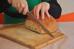Snijdend eigengemaakt brood Royalty-vrije Stock Foto