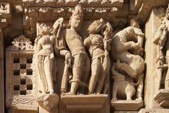 Snijdend van de Vishnavath-Tempel, Khajuraho- India Stock Afbeeldingen