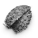 Snijvlak van een 3d vingerafdruk Stock Afbeeldingen
