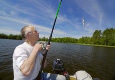 Séniores do pescador Foto de Stock Royalty Free