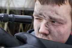 Sniper. Shoots from a rifle stock images