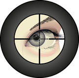 Sniper. Eye of shooter in the viewfinder optical Royalty Free Stock Photos