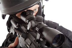 Sniper. Shot of a soldier holding gun. Uniform conforms to special services(soldiers) of the NATO countries Royalty Free Stock Photo