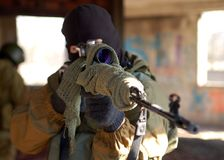 Sniper. Men with the sniper rifle Stock Images