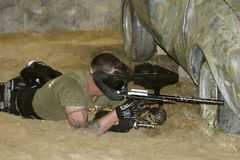 Sniper. Indoor Paintball action Royalty Free Stock Photos