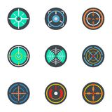 Sniper aim icon set, flat style vector illustration