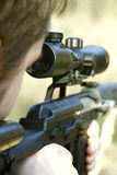 Sniper aiming. Detail of sniper aiming, russian soldier Royalty Free Stock Photos