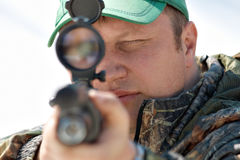Sniper aiming Stock Photography