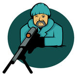 Sniper Aiming with Rifle Gun Cartoon Stock Images