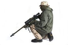 Sniper in anti-IR cloak. Sniper is wearing a desert uniform and an anti-IR cloak Royalty Free Stock Photography