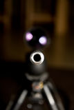 Sniper Barrel. Sniper rifle barrel, shoot is taken head on style, total focus on the barrel nozzle Stock Photo