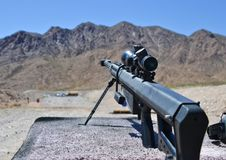 Sniper Barrett rifle , 0.50 caliber, m82a1. In a shooting range near Las Vegas, for training purposes . Extra powerful gun stock photography