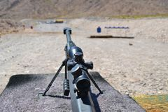 Sniper Barrett rifle , 0.50 caliber, m82a1. In a shooting range near Las Vegas, for training purposes . Extra powerful gun Stock Image