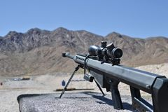 Sniper Barrett rifle , 0.50 caliber, m82a1. In a shooting range near Las Vegas, for training purposes . Extra powerful gun Stock Image
