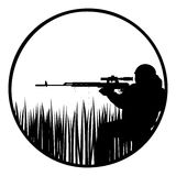 Sniper. The contour of a sniper with a sniper rifle. The illustration on a white background Stock Image