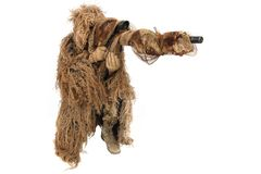 Sniper in ghillie suit isolated on white. Background Stock Photography