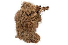 Sniper in ghillie suit. Isolated on white Royalty Free Stock Photos