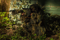 Sniper in ghillie suit. Sniper soldier in ghillie suit camo and mask sitting with rifle aiming target near tree and green branches background Royalty Free Stock Image