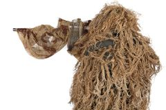 Sniper in ghillie suit  on white. Background Royalty Free Stock Photography